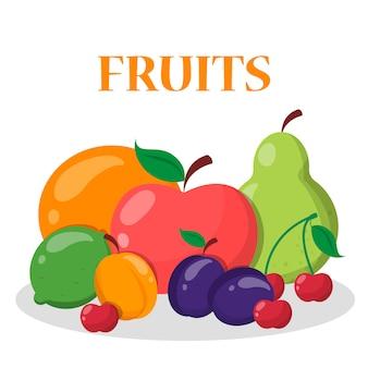 Set da frutta. mela, arancia, banana e ciliegia