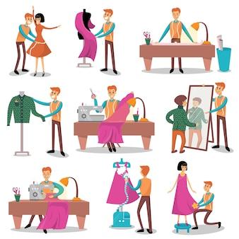 Set da sarta, designer maschile, sartoria, misurazione e cucito per i suoi clienti illustrazioni di cartoni animati