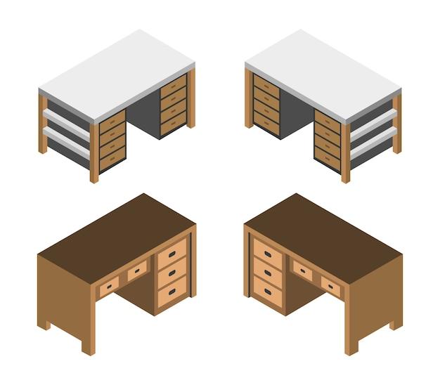 Set da scrivania isometrico