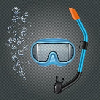 Set da snorkeling con poltiglia e tubo di respirazione su trasparente scuro con bolle realistiche
