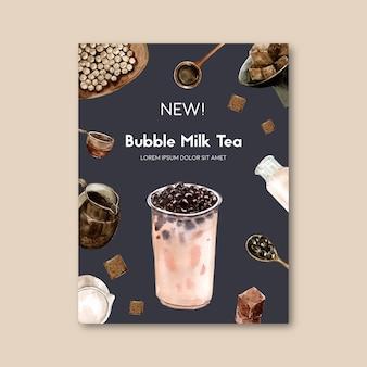 Set da tè al latte bolla matcha e zucchero di canna, annuncio poster, modello flyer, illustrazione dell'acquerello