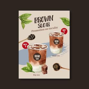 Set da tè al latte con bolle di zucchero di canna, poster, modello di volantino, illustrazione dell'acquerello