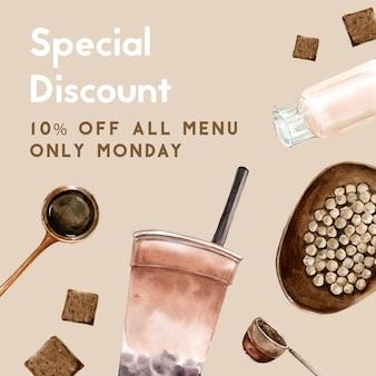 Set da tè al latte con bolle di zucchero di canna, promozione gratuita, modello di volantino, illustrazione dell'acquerello