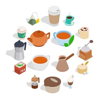 Set da tè e caffè, stile isometrico