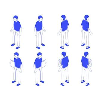 Set da ufficio maschio isometrico