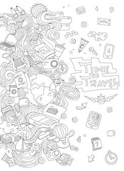 Set da viaggio mondiale. raccolta di schizzi di vettore semplice disegnato a mano