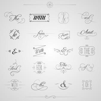Set decorativo di parole chiave