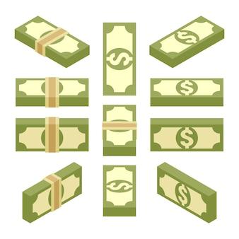 Set dei pacchi isometrici di carta moneta