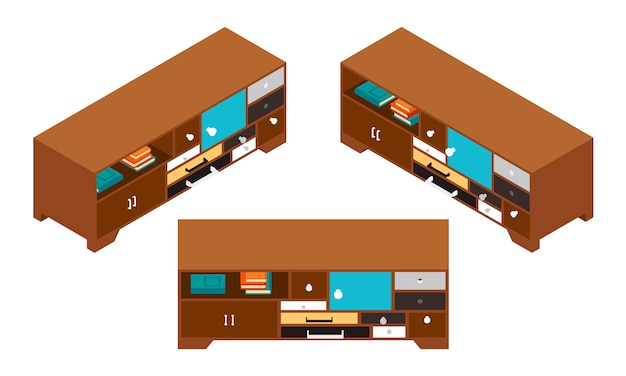 Set dei tavolini isometrici con tanti cassetti