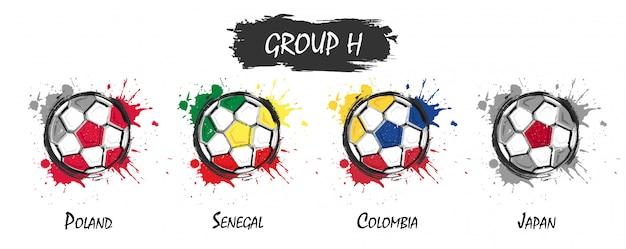 Set del gruppo nazionale di calcio h. vernice di arte dell'acquerello realistico con splash macchiato