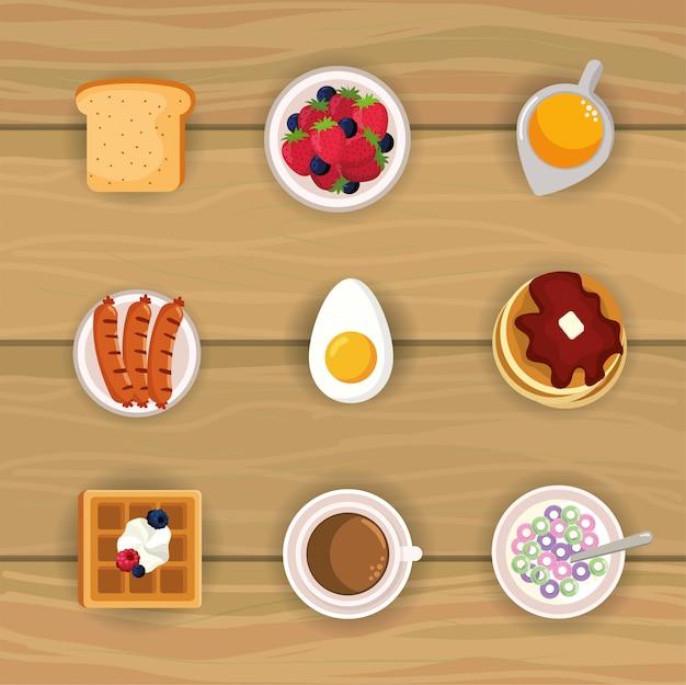Set delizioso cibo per la colazione con nutrizione proteica