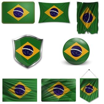Set della bandiera nazionale del brasile