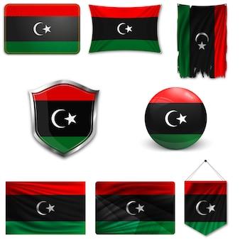 Set della bandiera nazionale della libia