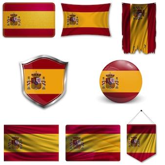 Set della bandiera nazionale della spagna