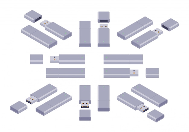 Set delle flash drive isometriche usb