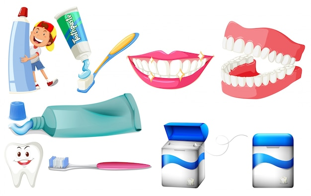 Set dentale con ragazzo e illustrazione denti puliti