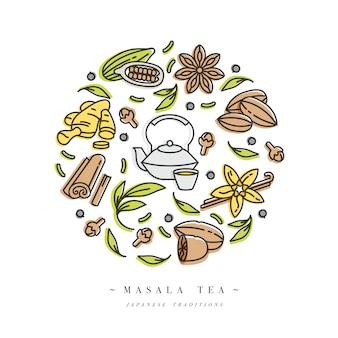 Set design icona modelli colorati ed emblemi - erbe biologiche e spezie diverse. composizione di icone di tè masala. simbolo in stile lineare alla moda isolato su priorità bassa bianca.
