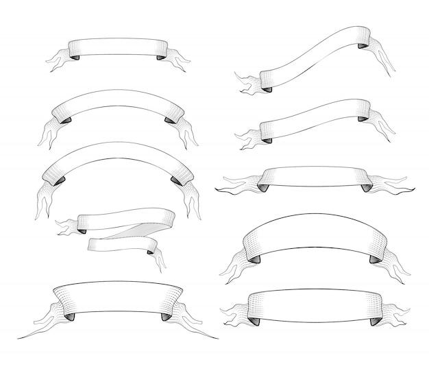 Set di 10 vecchi nastri incisi per testo isolato su bianco