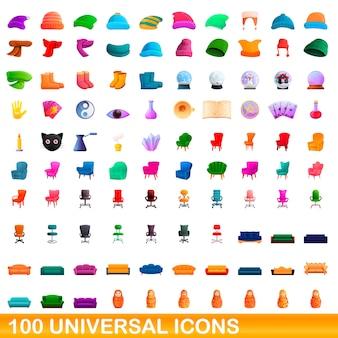 Set di 100 icone universali, stile cartoon