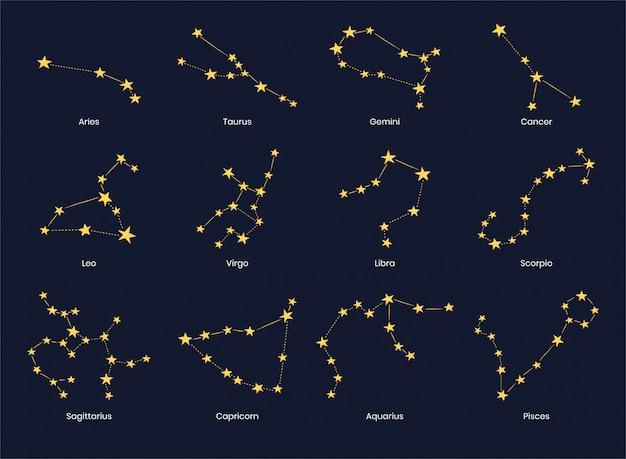 Set di 12 costellazioni di segni zodiacali.