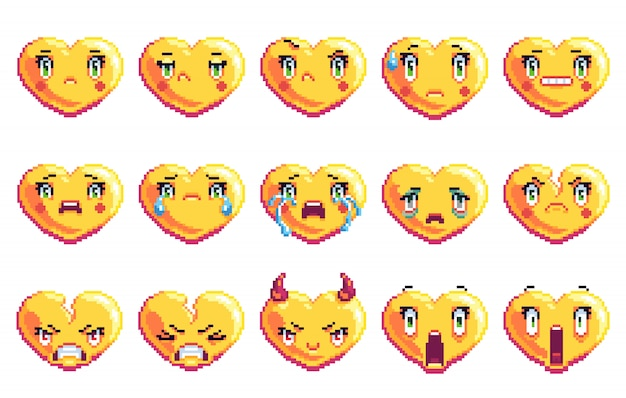 Set di 15 emozioni negative a forma di cuore emoji pixel art in colore dorato