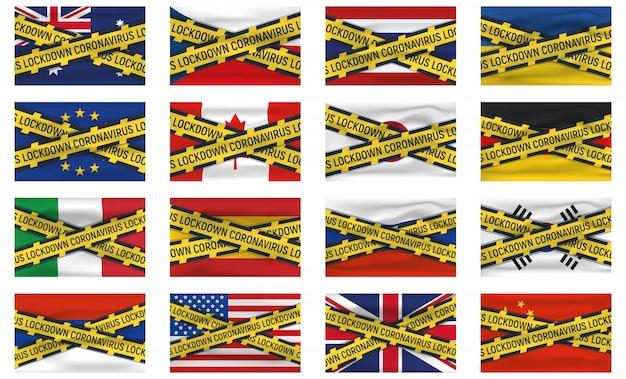 Set di 16 icone bandiera e logo, blocco coronovirus, covid 19, epidemia mondiale, pandemia. banner e modello di bandiera nazionale.
