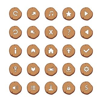 Set di 25 mix icone bianco su log brown brunato su sfondo bianco cartoon style