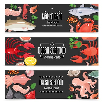 Set di 3 bandiere fresche di frutti di mare