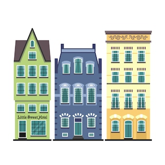 Set di 3 facciate di cartoni animati di vecchie case di amsterdam