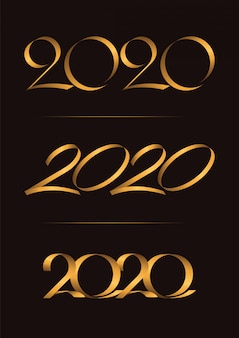 Set di 3, happy new year, christmas 2020 handwriting celebrating, luxury duo tone gold brown per carta di invito, fondale, etichetta o stazionario