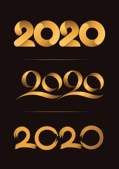 Set di 3, happy new year, christmas 2020 handwriting celebrating