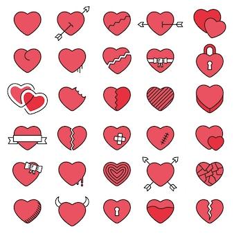 Set di 30 icone semplici cuori per san valentino