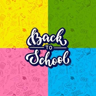 Set di 4 modelli di scuola e citazione lettering