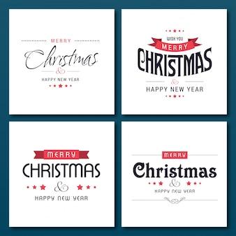 Set di 4 tipografie creative di natale in caselle bianche su sfondo blu