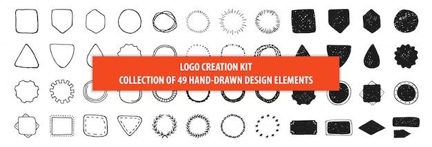 Set di 49 cornici disegnate a mano vintage design. kit di creazione del logo