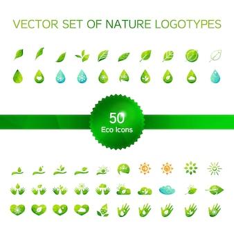 Set di 50 icone di ecologia, logo di natura, simboli di biologia