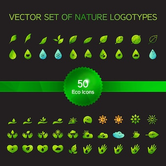 Set di 50 icone di ecologia
