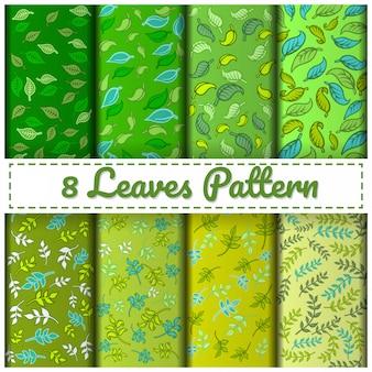 Set di 8 foglie di colore verde.