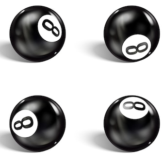 Set di 8 palline realistiche. isolato su bianco