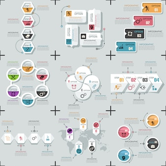 Set di 9 modelli infografici minimi piatti