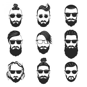 Set di 9 uomini barbuti hipsters con diverse acconciature e baffi
