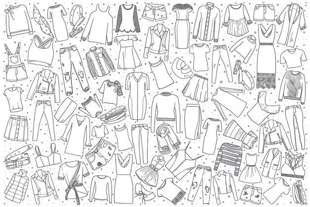 Set di abbigliamento femminile disegnato a mano