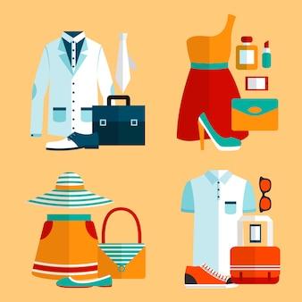 Set di abbigliamento per lo shopping