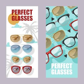 Set di accessori alla moda di occhiali da sole di banner occhiali da sole montatura in plastica occhiali da vista moderni