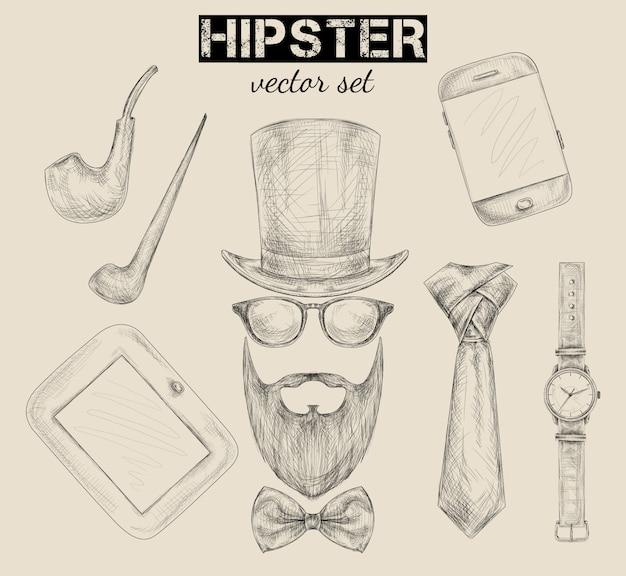 Set di accessori hipster disegnati a mano
