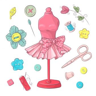 Set di accessori per cucire manichino. disegno a mano