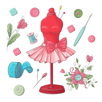 Set di accessori per cucire manichino.