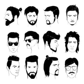 Set di acconciatura uomo con barba e baffi. collezione di eleganti modelli anni '80 e '90. ragazzi isolati disegnati a mano dei pantaloni a vita bassa, retro illustrazione.