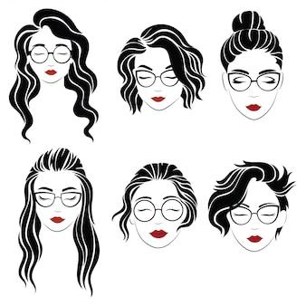 Set di acconciature per donne con gli occhiali. collezione di sagome di acconciature per ragazza.