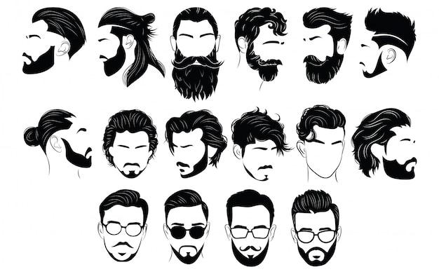 Set di acconciature per uomo. collezione di sagome nere di acconciature e barbe.